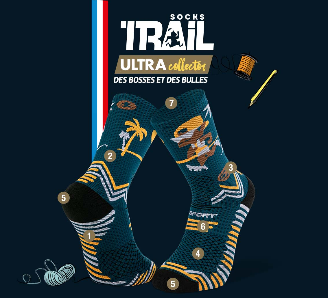 Chaussettes bleu TRAIL ULTRA - Collector DBDB | Made in France