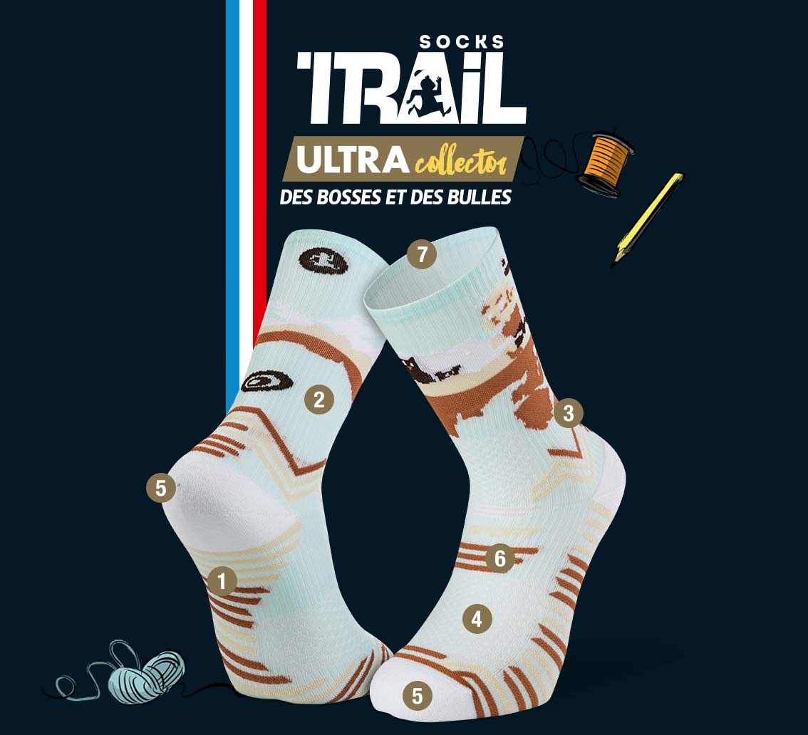 Chaussettes bleu ciel TRAIL ULTRA - Collector DBDB | Made in France