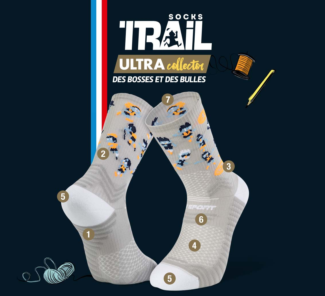 Chaussettes grise TRAIL ULTRA - Collector DBDB | Made in France