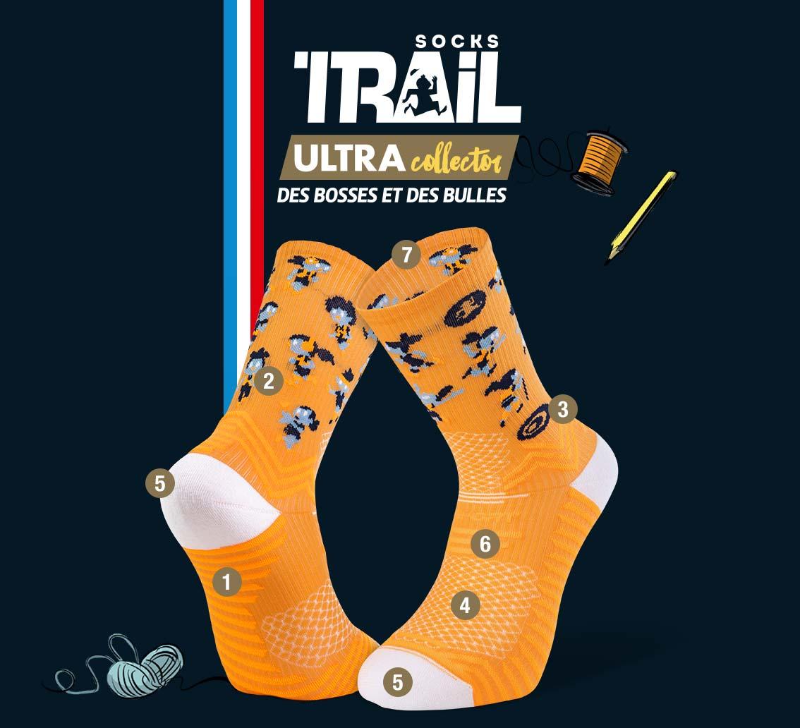 Orange trail socks TRAIL ULTRA - Collector DBDB | Made in France
