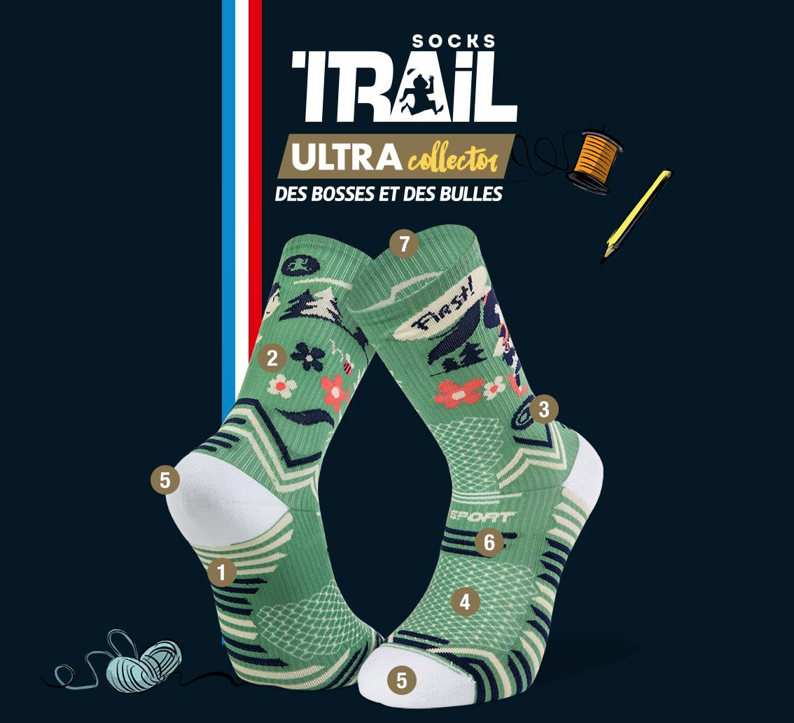 Green trail socks TRAIL ULTRA - Collector DBDB | Made in France