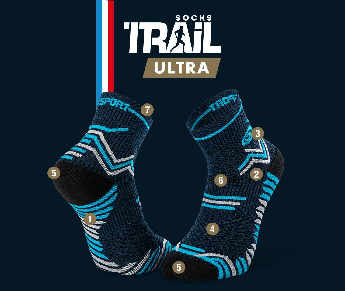 Calze blu-grigio TRAIL ULTRA | Made in France