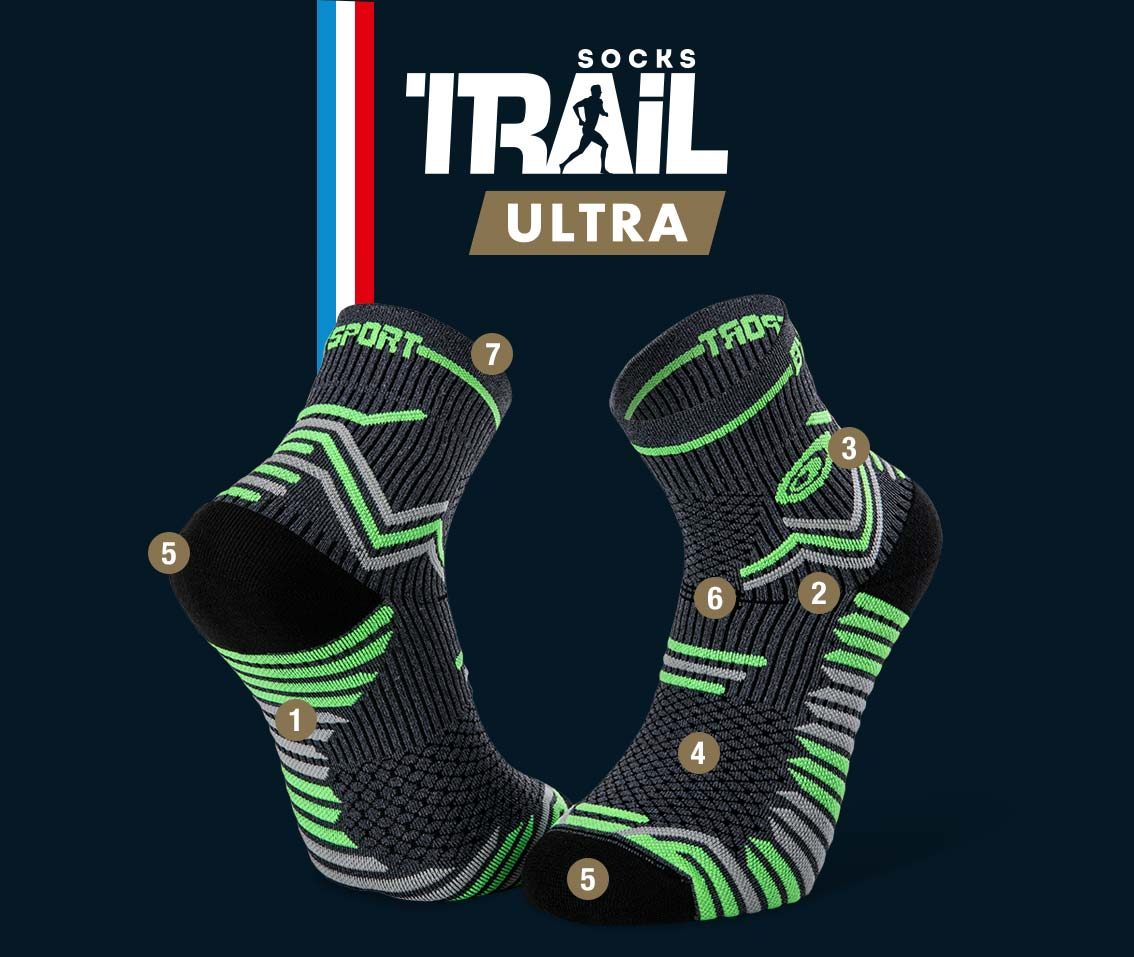 Chaussettes gris-vert TRAIL ULTRA | Made in France
