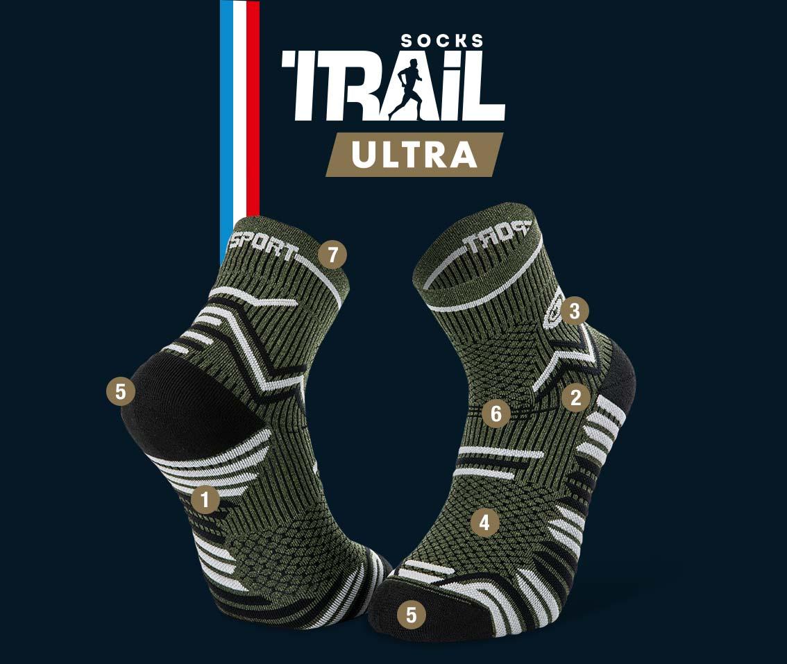 Calze verde cachi-nero TRAIL ULTRA | Made in France
