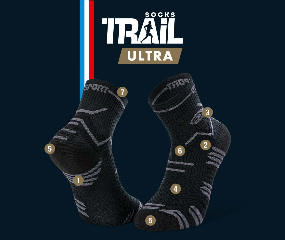 Chaussettes noir-gris TRAIL ULTRA | Made in France