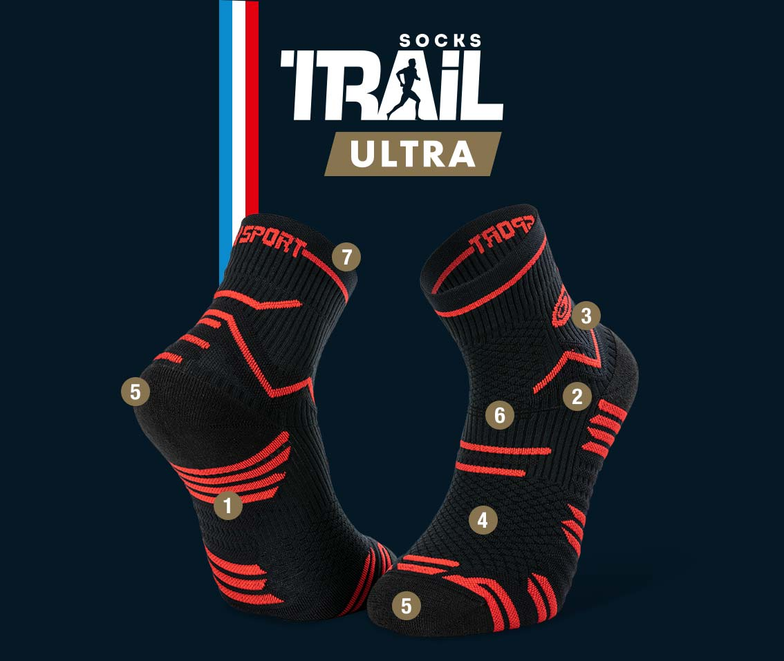 Chaussettes noir-rouge TRAIL ULTRA | Made in France