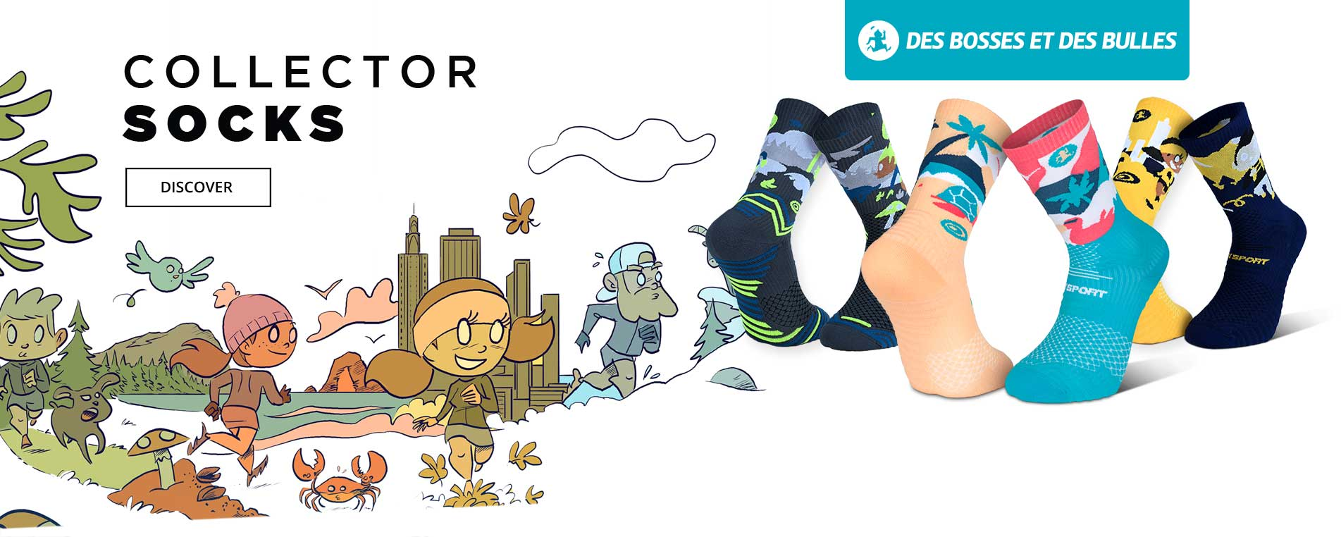 Discover the new exclusive collection of trail socks in collaboration with Des Bosses Des Bulles